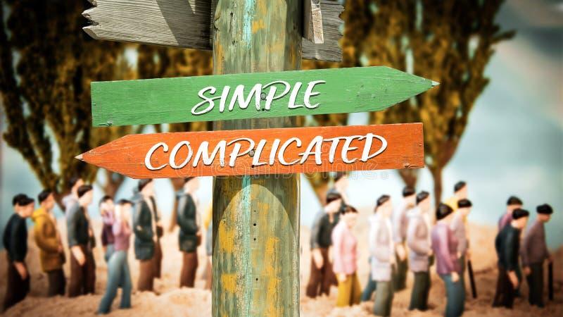 路牌简单对复杂化 库存照片