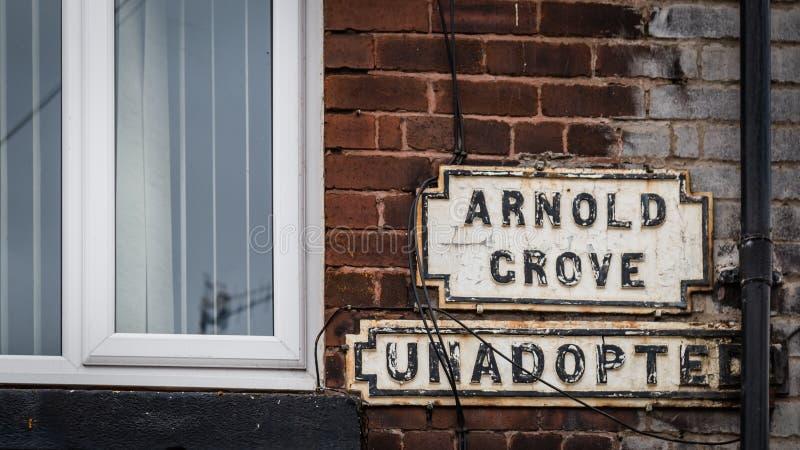 路牌阿诺德Crove,利物浦,英国 库存图片