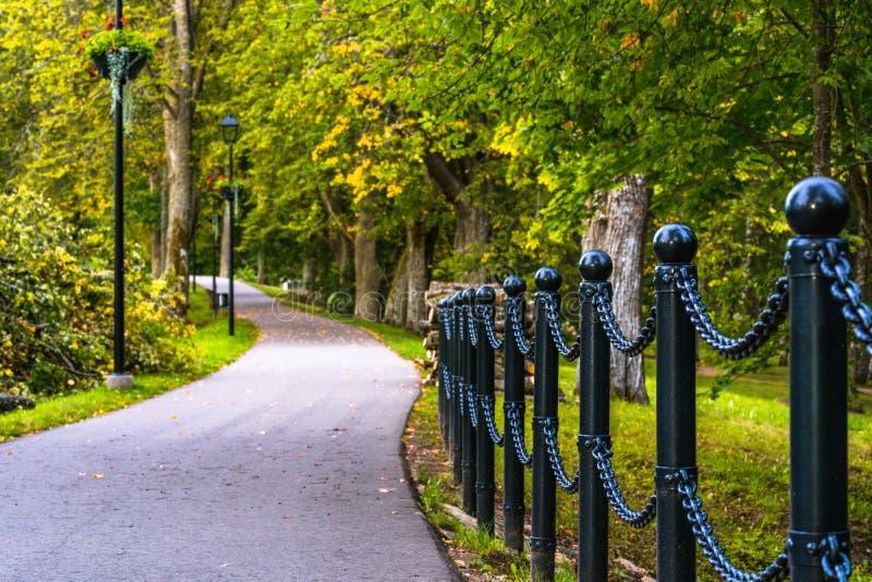 路的五颜六色的照片在一个公园,在森林-链篱芭的特写镜头视图之间有与空间的被弄脏的背景文本的 库存照片