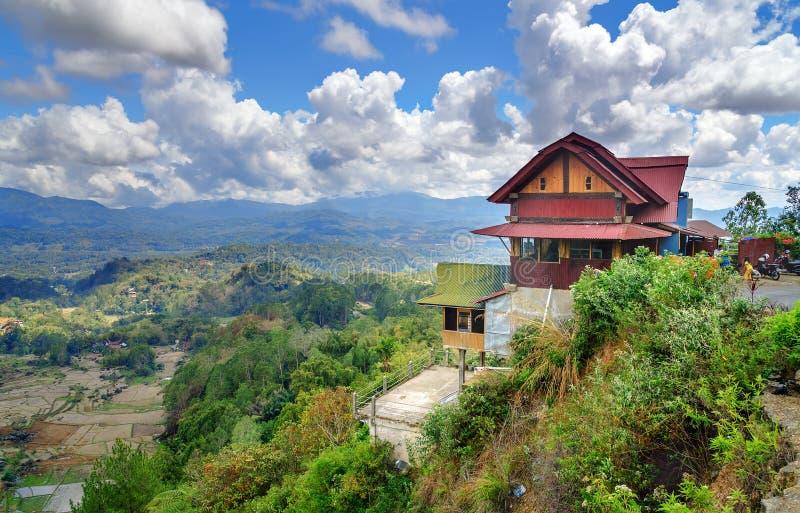 路的咖啡馆有绿色米领域看法在塔娜Toraja 免版税库存图片