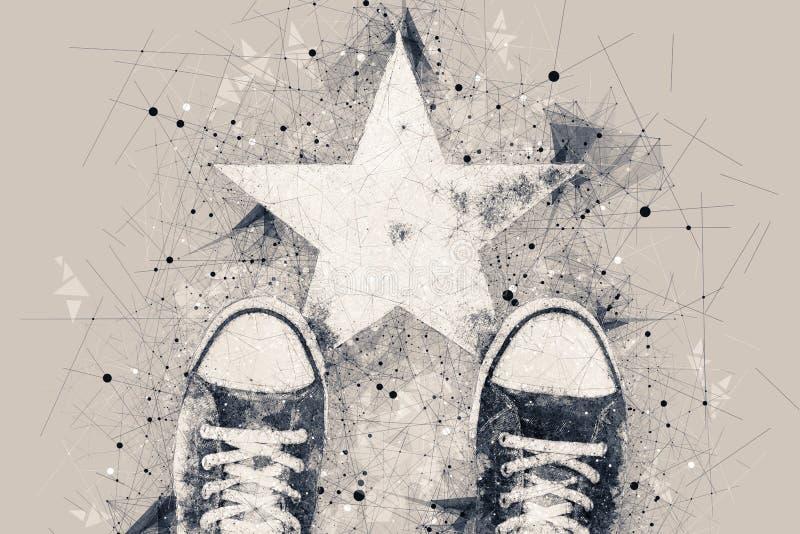 路的年轻人有星形状版本记录的 免版税库存照片