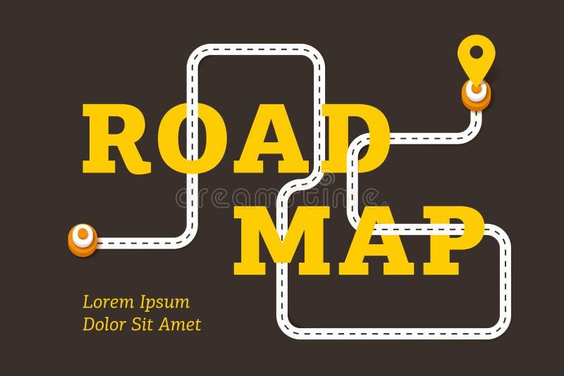 路线图与弯曲道路的企业概念 皇族释放例证