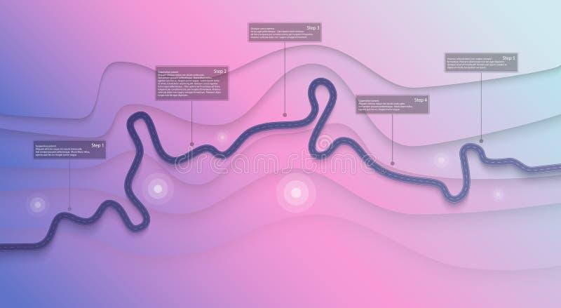 路线图和旅途路线infographics模板 弯曲道路时间安排例证 平的传染媒介 10 eps 向量例证