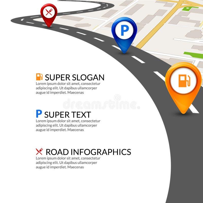 路线图城市infographic与五颜六色的别针尖 路线图模板 库存例证