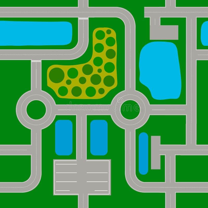 路线图由标准元素做成 高速公路,交叉点,环形交通枢纽 向量例证