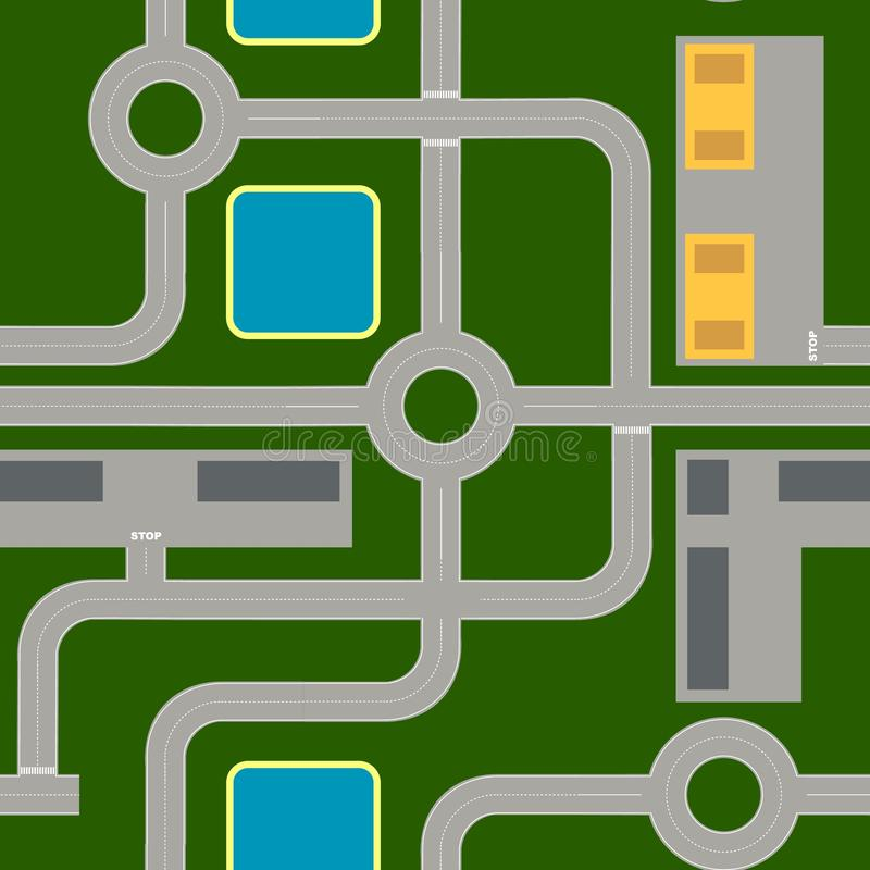 路线图由标准元素做成 高速公路,交叉点,环形交通枢纽 皇族释放例证