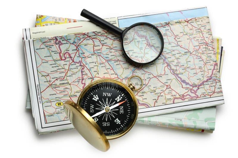路线图计划和指南针 免版税库存照片