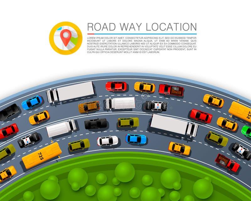 路线地点,小汽车赛信息艺术盖子 库存例证