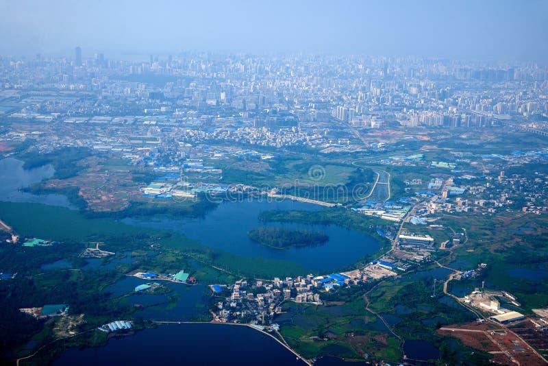 路线的基于的支架海口市从重庆向海口 库存图片