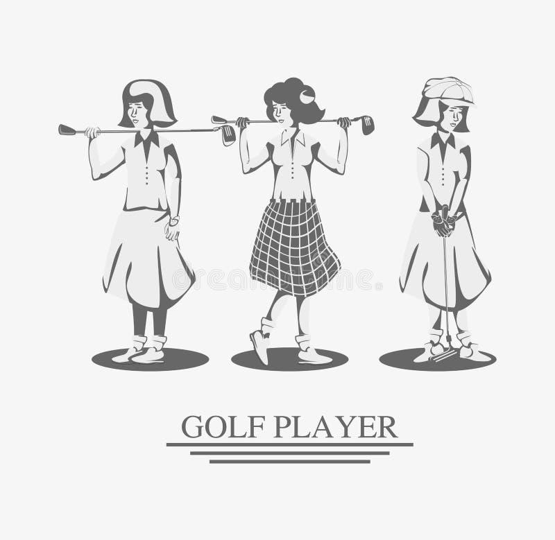 路线的高尔夫球运动员妇女 库存例证