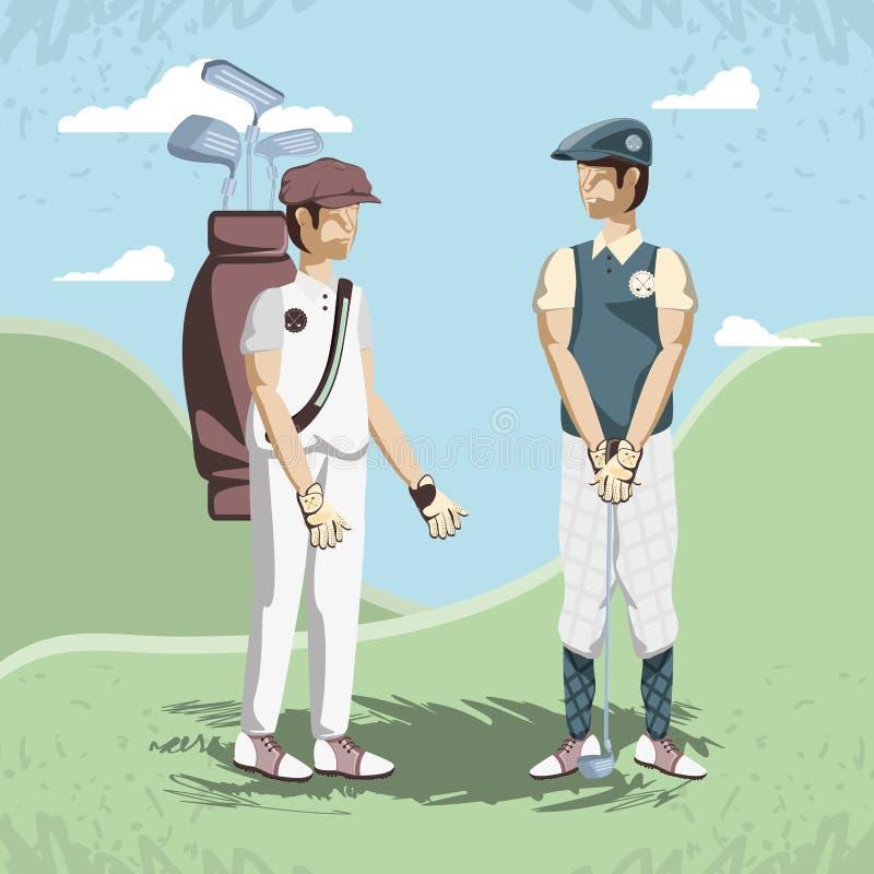 路线的高尔夫球运动员 向量例证