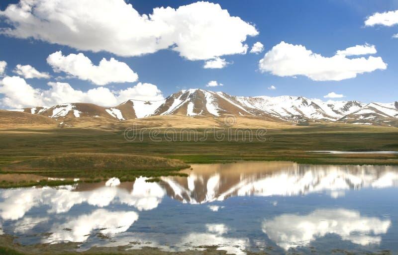 路线美丽风景从比什凯克向歌曲kul湖,有吉尔吉斯斯坦的天狮单山的纳伦 库存图片