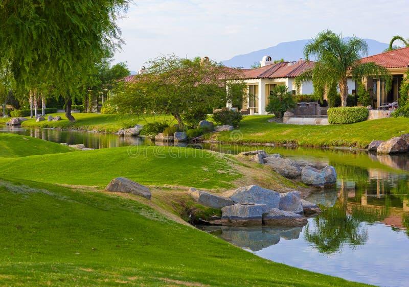路线高尔夫球回家棕榈泉 库存照片