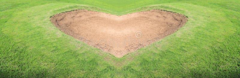 路线高尔夫球砂槽 免版税库存照片
