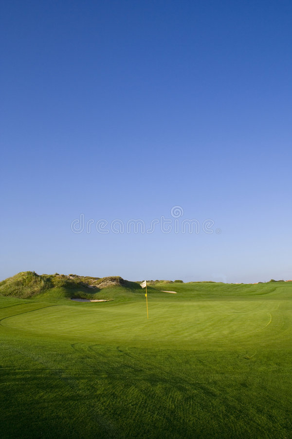 路线高尔夫球绿色 库存图片
