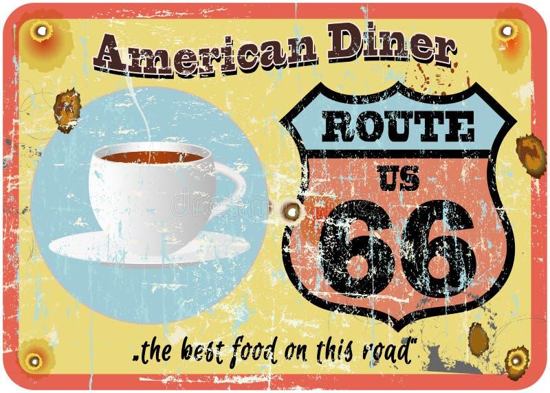 路线66吃饭的客人标志 向量例证