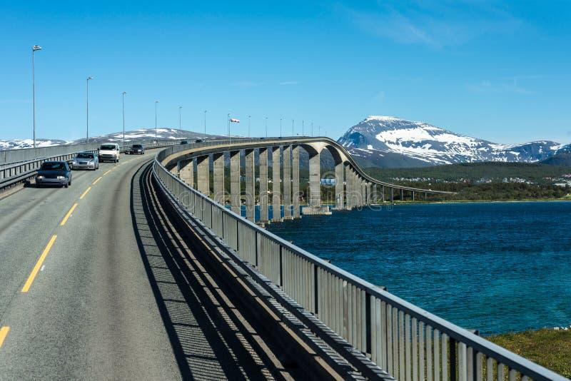 路线862在特罗姆斯,挪威北部 图库摄影