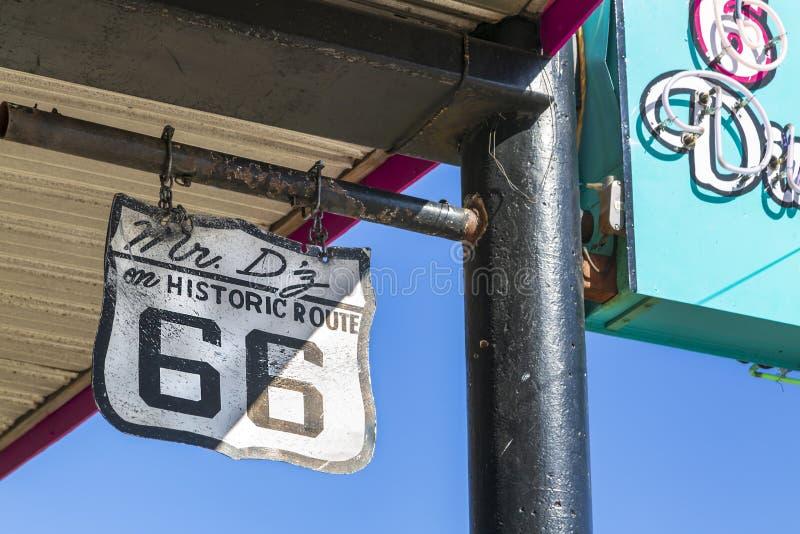 路线66标志,金曼,亚利桑那,美国,美国,美国,北美洲 库存照片