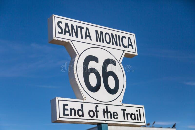 路线66签到圣塔蒙尼卡 免版税库存图片