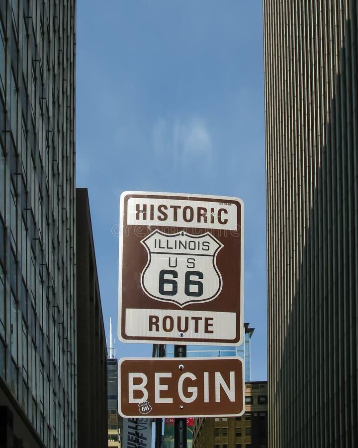 路线66起点:伊利诺伊/美国66盾 库存图片