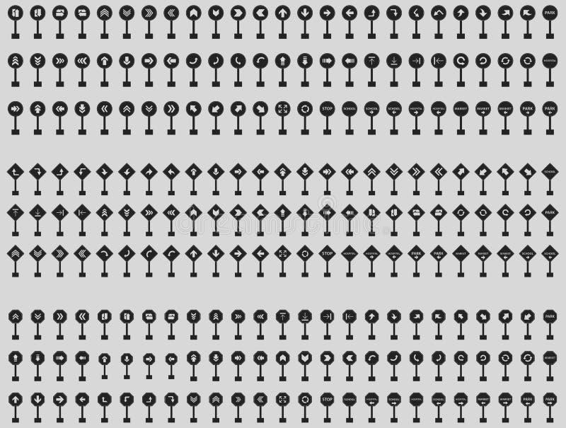 路象的正方形,被环绕的和长方形箭头标志在灰色背景设置了 皇族释放例证