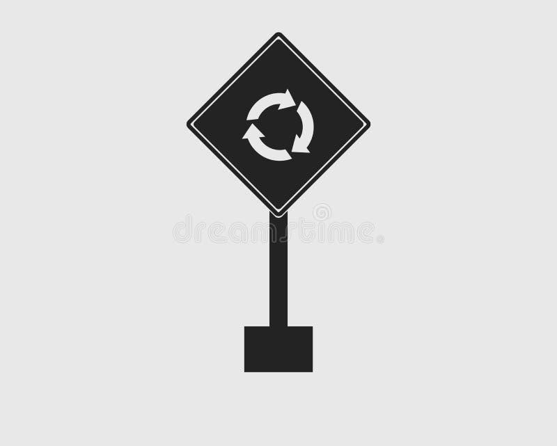 路象的环形交通枢纽标志在灰色背景的 向量例证