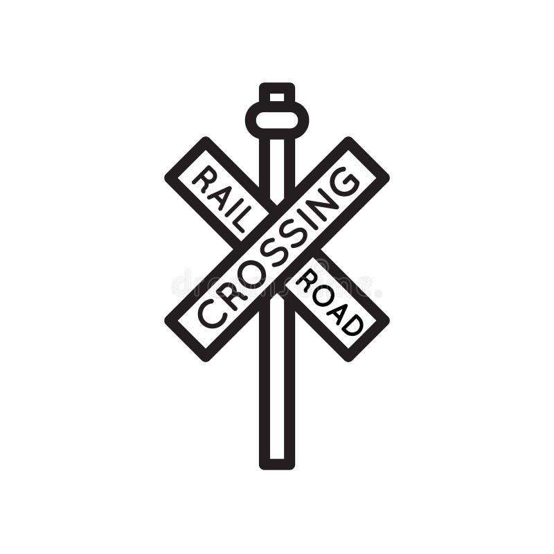 路轨平交道口发怒信号象在白色背景隔绝的传染媒介标志和标志,路轨平交道口十字架信号商标 皇族释放例证