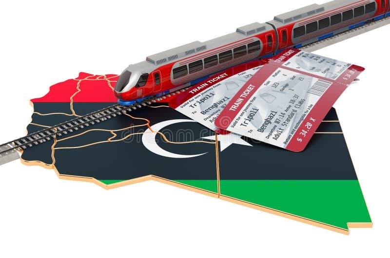 路轨旅行在利比亚,概念 3d?? 皇族释放例证