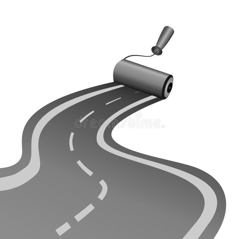 路辗画沥青被铺的路 库存例证