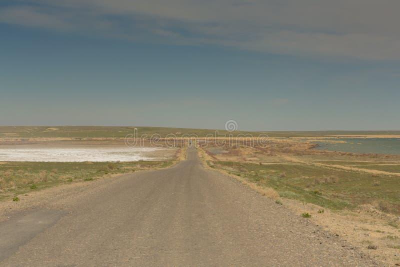 路通过干草原向咸海 哈萨克斯坦,2019年 库存图片