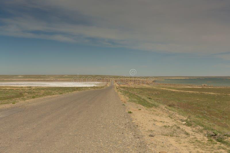 路通过干草原向咸海 哈萨克斯坦,2019年 免版税图库摄影