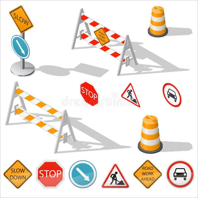 路障碍和标志等量详细的象集合 皇族释放例证