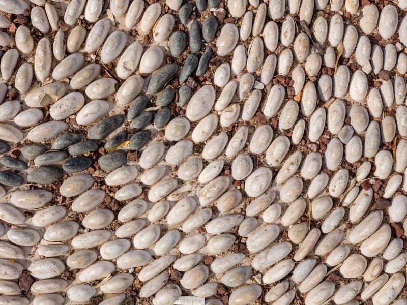 路面的片段由河圆的小卵石制成在一个公园,安塔利亚,土耳其 r 库存照片