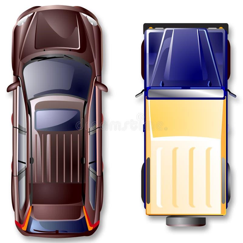 路顶层向量视图的汽车 向量例证