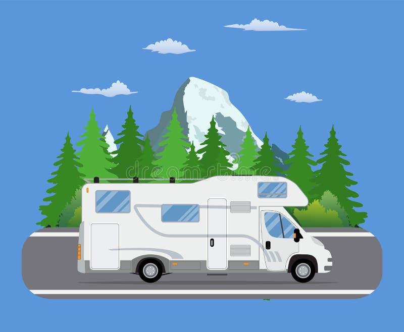 路驾驶在森林区域路的旅行拖车 向量例证