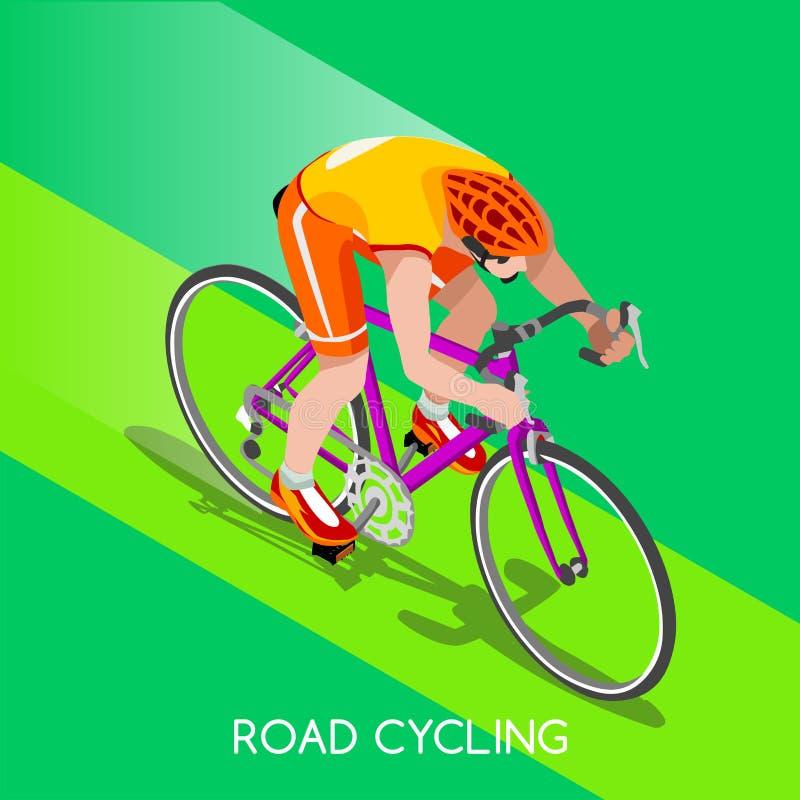 路骑自行车者自行车骑士运动员夏天比赛象集合 库存例证