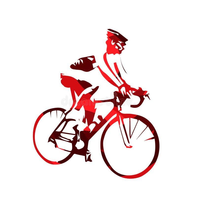 路骑自行车者,抽象红色传染媒介剪影 向量例证