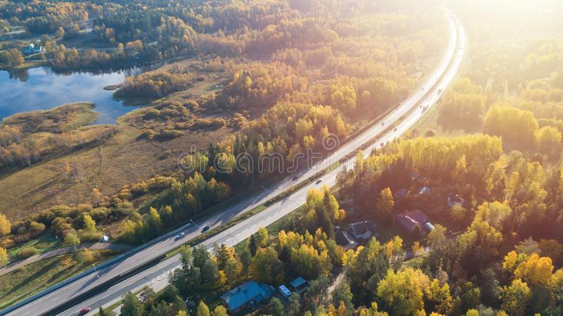 路鸟瞰图在美丽的秋天森林美好的风景的与沥青农村路,与红色和橙色叶子的树 免版税库存图片