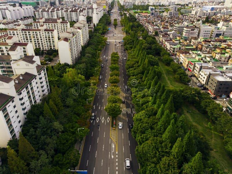 路鸟瞰图韩国 图库摄影