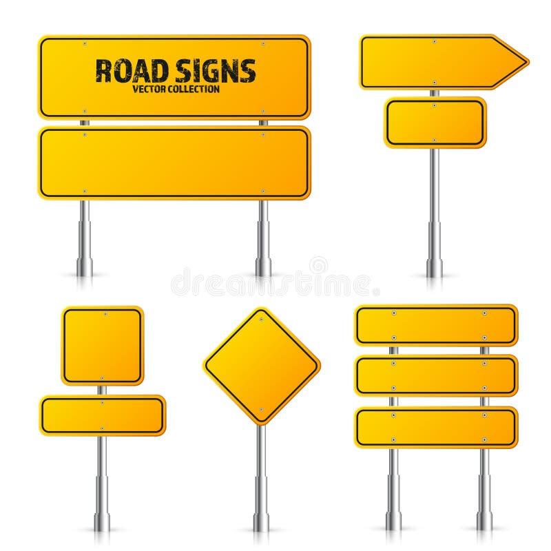 路黄色交通标志集合 有地方的空白的委员会文本的 o 被隔绝的信息标志 ?? ?? 向量例证