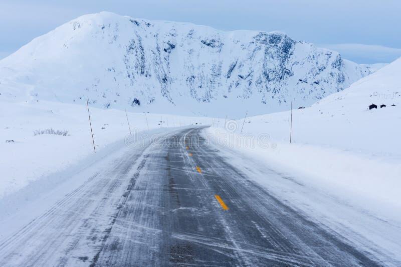 冻路,挪威 图库摄影