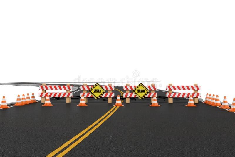 路翻译关闭了与障碍,交通锥体和小心标志由于长跑训练转换 库存例证