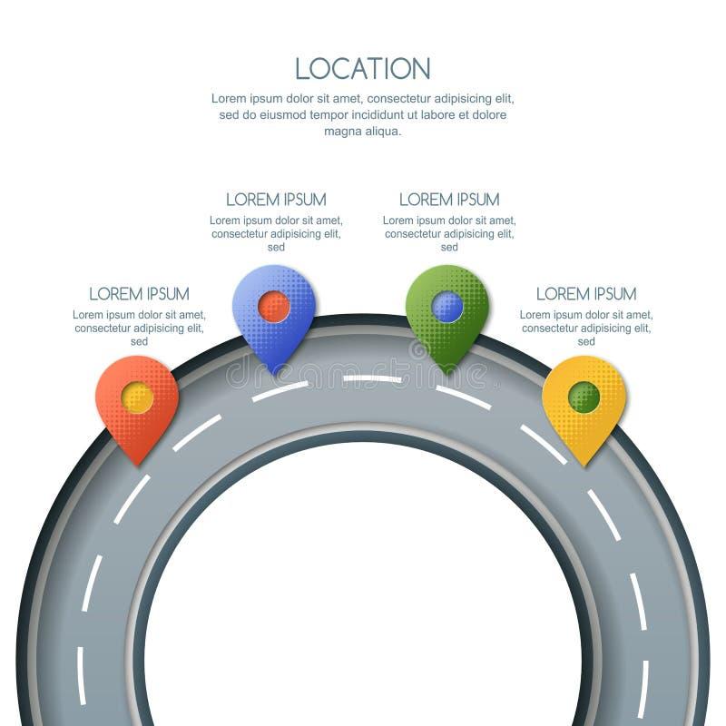 路infographics、地点和GPS航海 导航别针地图标志的例证,在环形交通枢纽的小站标志 向量例证