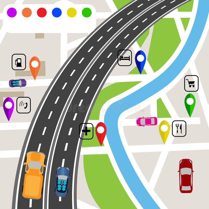 路infographics 轻视在路的弯有在地图地形的标志的 道路指定导航员 向量例证