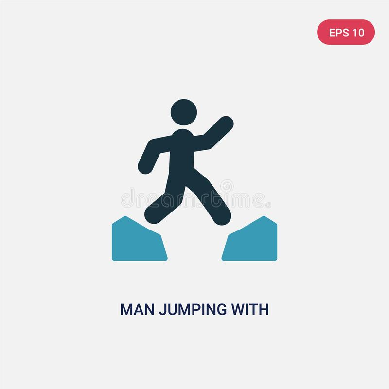 跳与被张开的腿的两种颜色的人导航从体育概念的象 跳跃与被打开的腿传染媒介标志的被隔绝的蓝色人 库存例证