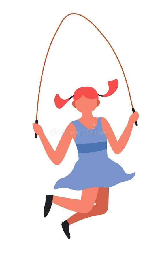 跳与跳绳孩子的女孩打比赛 皇族释放例证