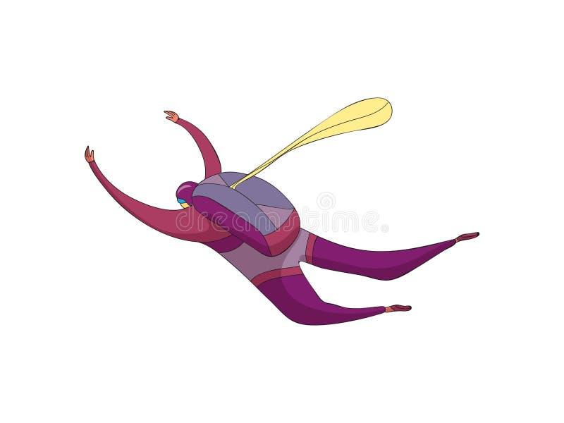 跳伞运动员在与背包的一套紫色衣服走下来 储备降伞是闭合的 r 皇族释放例证