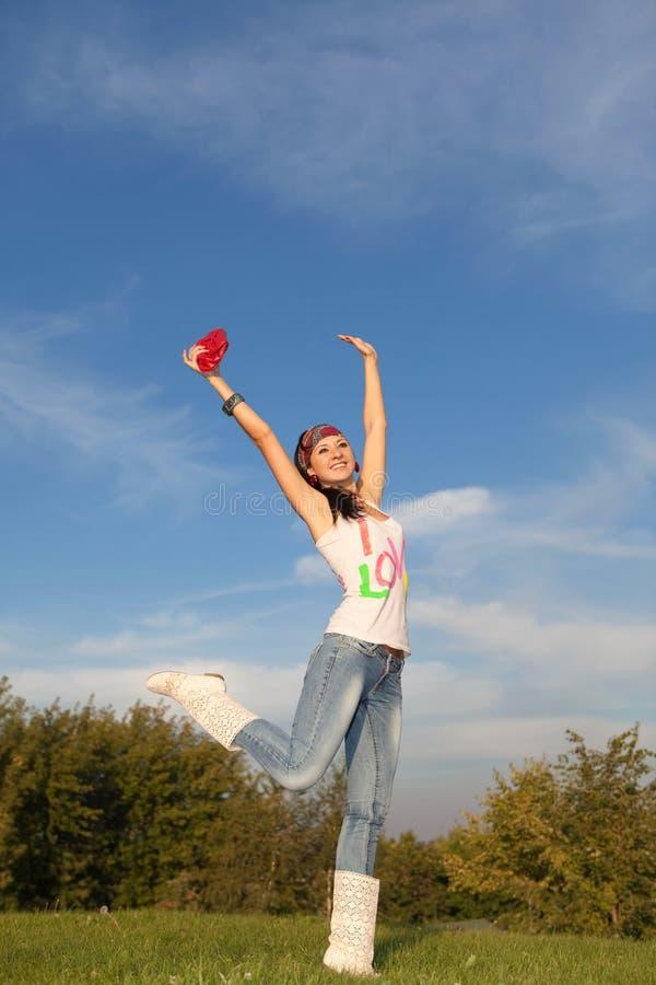 跳公园妇女 免版税图库摄影