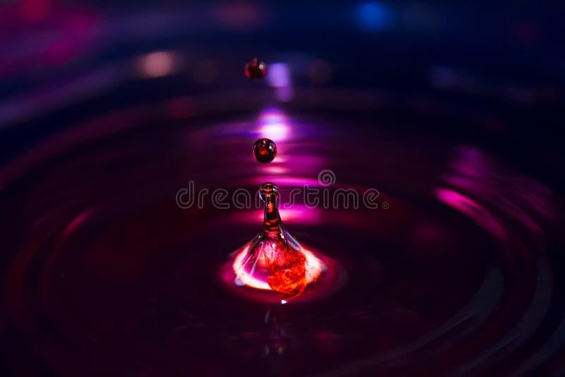 跳出与蓝色b的相称RED丢弃有启发性水 免版税图库摄影