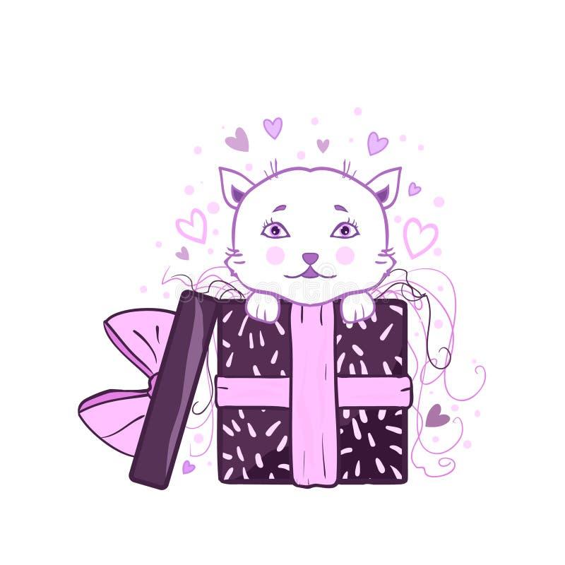 跳出礼物盒-惊奇,礼物,传染媒介贺卡的逗人喜爱的全部赌注 鞠躬,包裹,变粉红色五彩纸屑和心脏 向量例证
